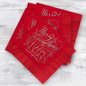 Other - 252 red & silver Christmas cocktail napkins